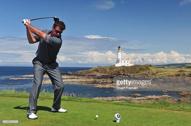 Sir Nick Faldo of England tees off during a practice round prior to the 138th Open Championship on the Ailsa Course Turnberry Golf Club on July 15...