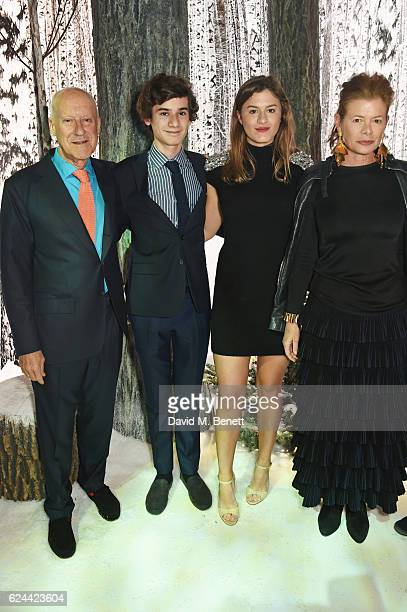 Sir Norman Foster and wife Elena Ochoa attend Claridge's Christmas Tree 2016 Party with tree designed by Sir Jony Ive and Marc Newson at Claridge's...