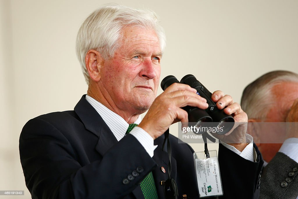Sir Patrick Hogan watches the racing during Auckland Cup Day at Ellerslie Racecourse on March 4 2015 in Auckland New Zealand
