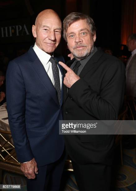 Sir Patrick Stewart and Mark Hamill attend the Hollywood Foreign Press Association's Grants Banquet at the Beverly Wilshire Four Seasons Hotel on...