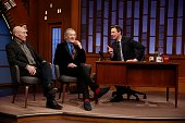 Sir Patrick Stewart and Sir Ian McKellen during an interview with host Seth Meyers during 'Late Night with Seth Meyers' on February 28 2014 in New...