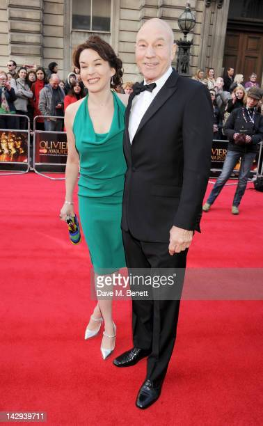 Sir Patrick Stewart and Sunny Ozell arrive at the 2012 Olivier Awards held at The Royal Opera House on April 15 2012 in London England
