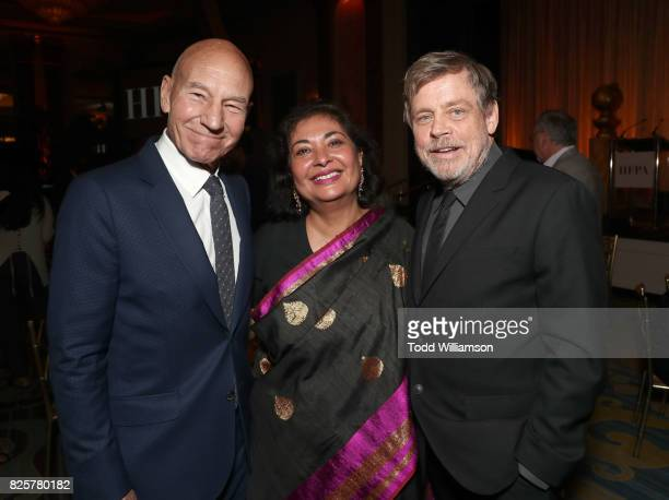 Sir Patrick Stewart HFOA President Meher Tatna and Mark Hamill attend the Hollywood Foreign Press Association's Grants Banquet at the Beverly...