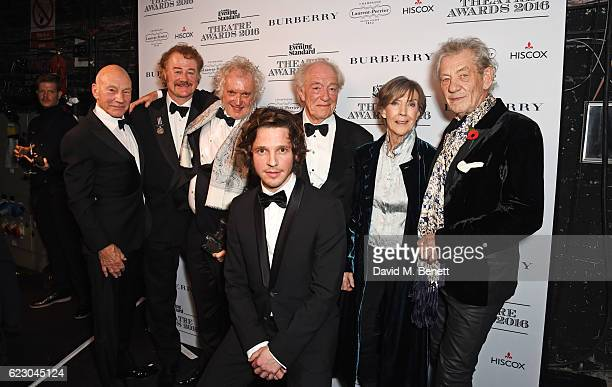 Sir Patrick Stewart Owen Teale director Sean Mathias Damien Molony Sir Michael Gambon Dame Eileen Atkins and Sir Ian McKellen accepting the Best...