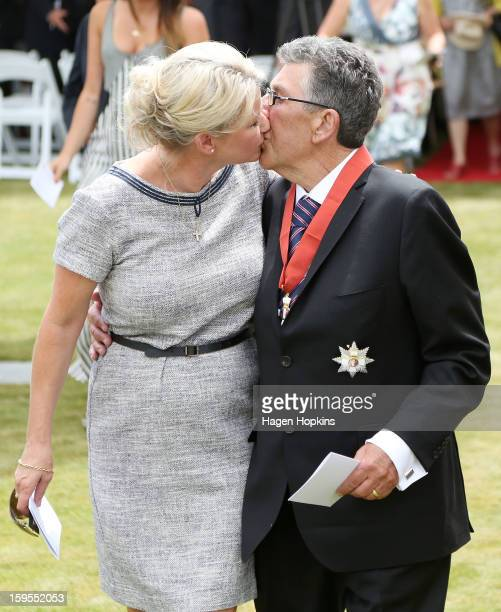 Sir Paul Holmes kisses his wife Lady Deborah after receiving a Knighthood from GovernorGeneral Sir Jerry Mateparae in recognition of his services to...