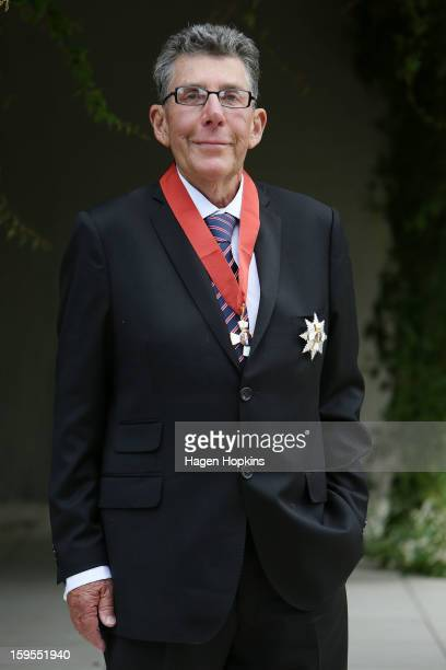 Sir Paul Holmes poses after receiving a Knighthood from GovernorGeneral Sir Jerry Mateparae in recognition of his services to broadcasting and the...