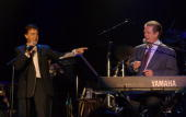 Sir Paul McCartney and Brian Wilson perform together
