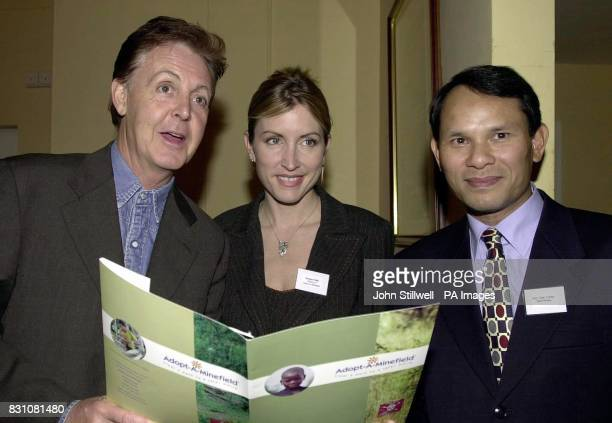 Sir Paul McCartney and fiancee Heather Mills with the Vietnamese Ambassador Vuong Thua Phong at the launch of the AdoptAMinefield and Mines Advisory...