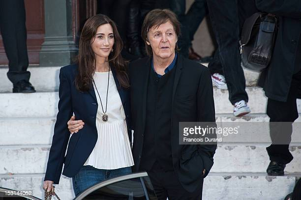 Sir Paul McCartney and Nancy Shevell arrive at the Stella McCartney Spring / Summer 2013 show as part of Paris Fashion Week on October 1 2012 in...