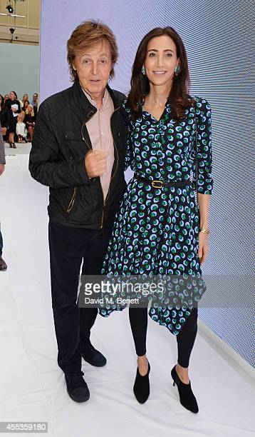 Sir Paul McCartney and Nancy Shevell attend the Hunter Original SS 2015 catwalk show at on September 13 2014 in London England
