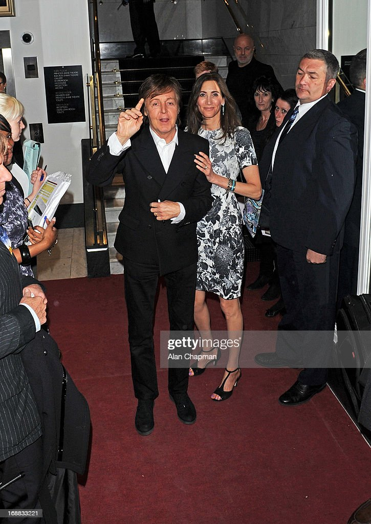 Sir <a gi-track='captionPersonalityLinkClicked' href=/galleries/search?phrase=Paul+McCartney&family=editorial&specificpeople=92298 ng-click='$event.stopPropagation()'>Paul McCartney</a> and <a gi-track='captionPersonalityLinkClicked' href=/galleries/search?phrase=Nancy+Shevell&family=editorial&specificpeople=5085391 ng-click='$event.stopPropagation()'>Nancy Shevell</a> sighting at BAFTA Piccadilly for VIP screening on May 15, 2013 in London, England.