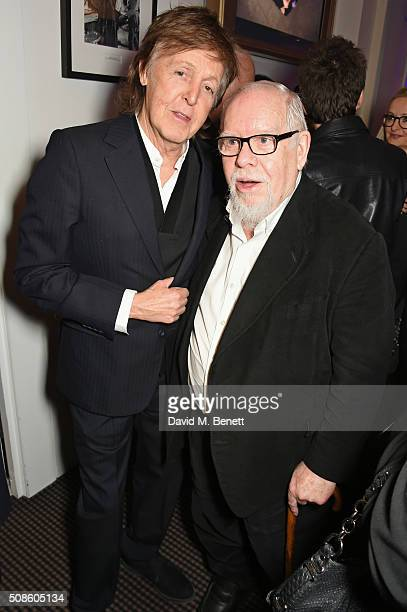 Sir Paul McCartney and Sir Peter Blake attend a cast and crew screening of 'This Beautiful Fantastic' at BAFTA on February 5 2016 in London England