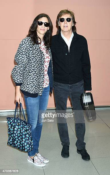 Sir Paul McCartney and wife Nancy Shevell are seen upon arrival at Kansai International Airport on April 20 2015 in Izumisano Japan