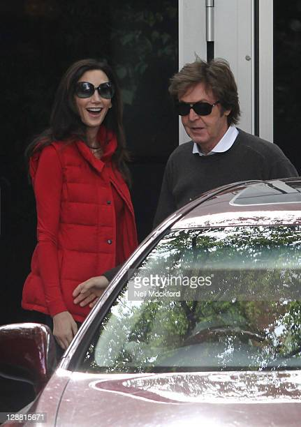 Sir Paul McCartney and wife Nancy Shevell leave their house the day after their wedding on October 10 2011 in London England