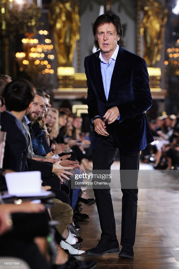 Sir <a gi-track='captionPersonalityLinkClicked' href=/galleries/search?phrase=Paul+McCartney&family=editorial&specificpeople=92298 ng-click='$event.stopPropagation()'>Paul McCartney</a> attends the Stella McCartney show as part of the Paris Fashion Week Womenswear Spring/Summer 2014 on September 30, 2013 in Paris, France.