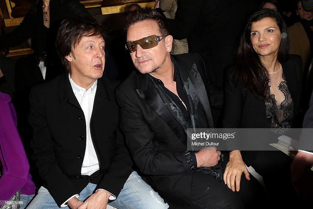 Sir <a gi-track='captionPersonalityLinkClicked' href=/galleries/search?phrase=Paul+McCartney&family=editorial&specificpeople=92298 ng-click='$event.stopPropagation()'>Paul McCartney</a>, <a gi-track='captionPersonalityLinkClicked' href=/galleries/search?phrase=Bono+-+Singer&family=editorial&specificpeople=167279 ng-click='$event.stopPropagation()'>Bono</a> and Ali Hewson attend the Stella McCartney Fall/Winter 2013 Ready-to-Wear show as part of Paris Fashion Week on March 4, 2013 in Paris, France.