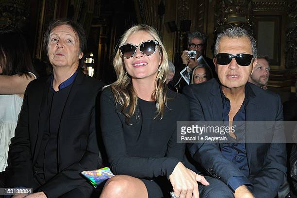 Sir Paul McCartney Kate Moss and Mario Testino attend the Stella McCartney Spring / Summer 2013 show as part of Paris Fashion Week on October 1 2012...