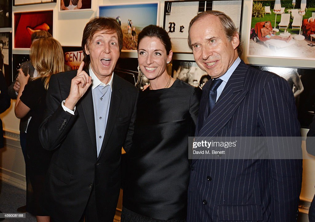 Sir Paul McCartney, Mary McCartney and Simon de Pury attend the book launch and private view of 'Mary McCartney: Monochrome And Colour' curated by De Pury De Pury on November 20, 2014 in London, England.