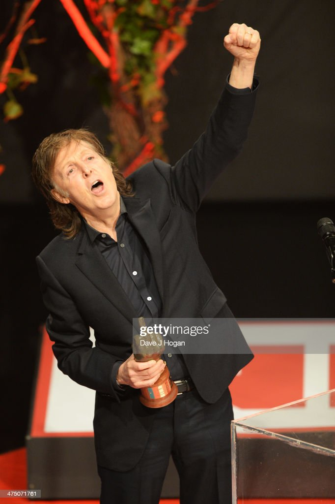 Sir <a gi-track='captionPersonalityLinkClicked' href=/galleries/search?phrase=Paul+McCartney&family=editorial&specificpeople=92298 ng-click='$event.stopPropagation()'>Paul McCartney</a> onstage at the annual NME Awards at Brixton Academy on February 26, 2014 in London, England.