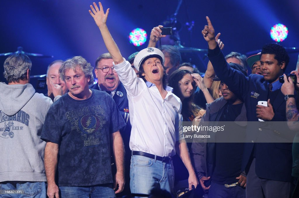 Sir Paul McCartney performs at '12-12-12' a concert benefiting The Robin Hood Relief Fund to aid the victims of Hurricane Sandy presented by Clear Channel Media & Entertainment, The Madison Square Garden Company and The Weinstein Company at Madison Square Garden on December 12, 2012 in New York City.