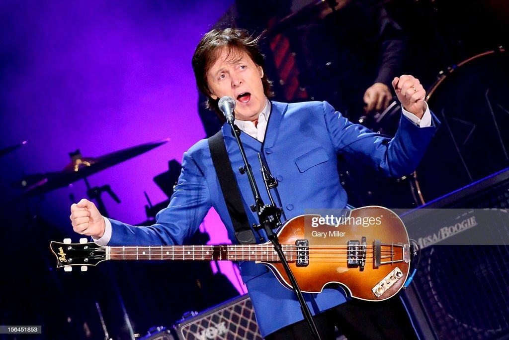 Sir Paul McCartney performs in concert at Minute Maid Park on November 14, 2012 in Houston, Texas.