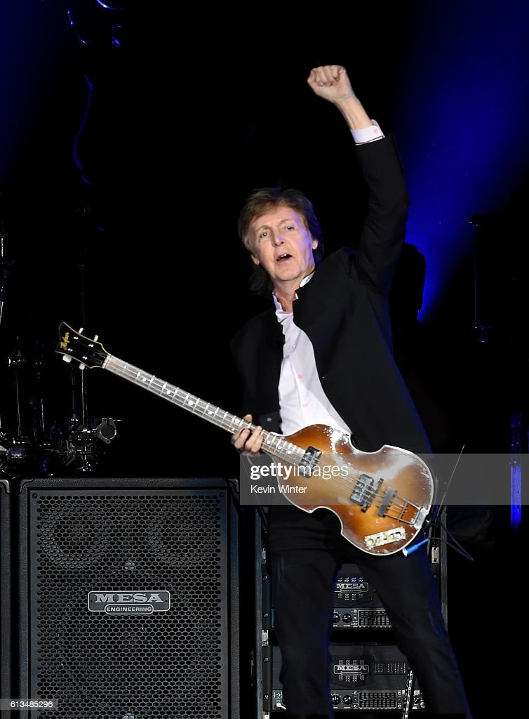 Sir Paul McCartney performs onstage during Desert Trip at the Empire Polo Field on October 8, 2016 in Indio, California.