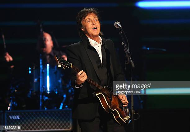 Sir Paul McCartney performs onstage during the iHeartRadio Music Festival at the MGM Grand Garden Arena on September 21 2013 in Las Vegas Nevada
