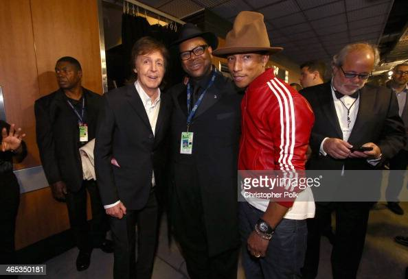 Sir Paul McCartney producer Jimmy Jam and Pharrell Williams attend the 56th GRAMMY Awards at Staples Center on January 26 2014 in Los Angeles...