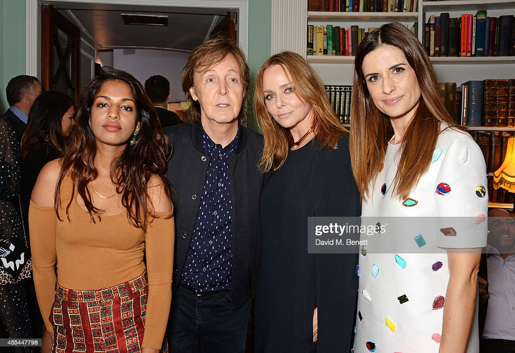 MIA Sir Paul McCartney Stella McCartney and Livia Firth attend The London 2014 Stella McCartney Green Carpet Collection during London Fashion Week at...