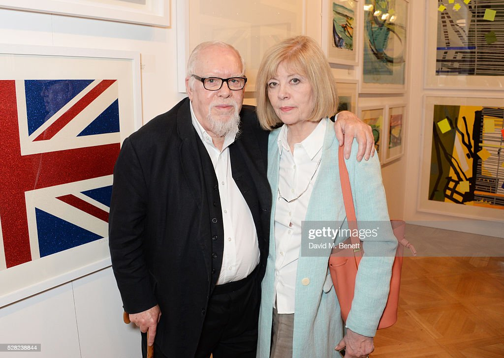 Sir <a gi-track='captionPersonalityLinkClicked' href=/galleries/search?phrase=Peter+Blake&family=editorial&specificpeople=239082 ng-click='$event.stopPropagation()'>Peter Blake</a> (L) and Chrissy Blake attend a private view of the Royal Society Of Portrait Painters Annual Exhibition at Mall Galleries on May 4, 2016 in London, England.
