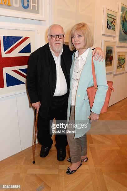 Sir Peter Blake and Chrissy Blake attend a private view of the Royal Society Of Portrait Painters Annual Exhibition at Mall Galleries on May 4 2016...