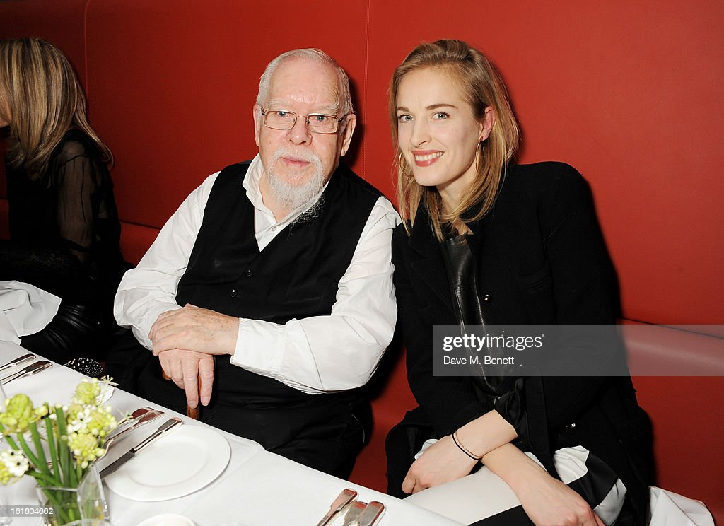 Sir Peter Blake (L) and Polly Morgan attend a private dinner hosted by Lucy Yeomans celebrating Jason Brooks at Cafe Royal on February 12, 2013 in London, England.