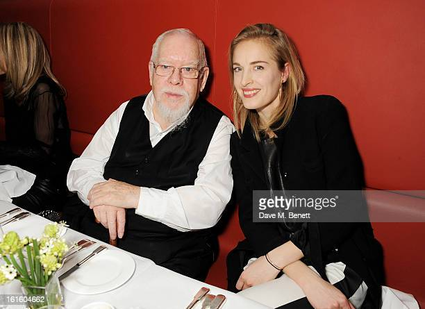 Sir Peter Blake and Polly Morgan attend a private dinner hosted by Lucy Yeomans celebrating Jason Brooks at Cafe Royal on February 12 2013 in London...