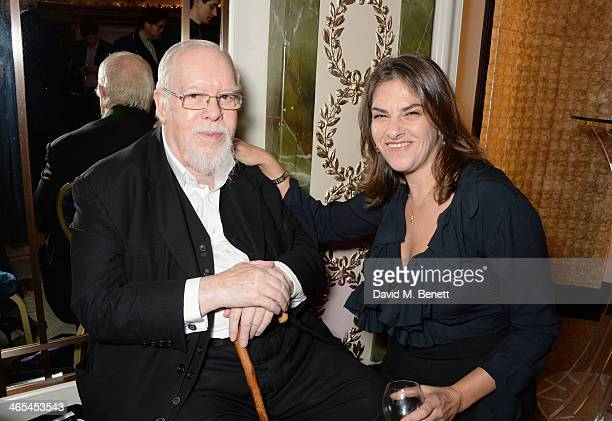 Sir Peter Blake and Tracey Emin winner of the Outstanding Achievement Award attend the South Bank Sky Arts awards at the Dorchester Hotel on January...