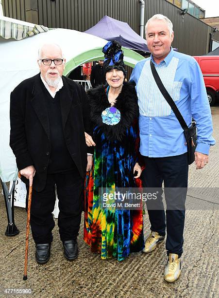 Sir Peter Blake Molly Parkin and Marty Thornton attend the Vauxhall Art Car Boot Fair 2015 on June 14 2015 in London England