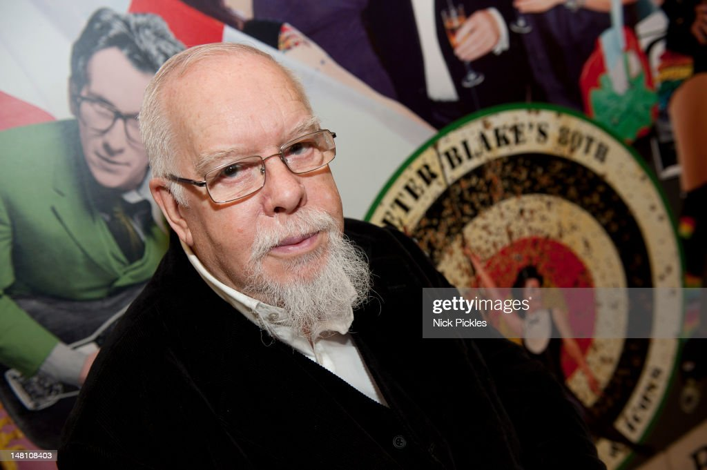 Sir Peter Blake poses for pictures as they reflect back on Blake's 60 year career and their shared love of collecting mass market ephemera at The VA...