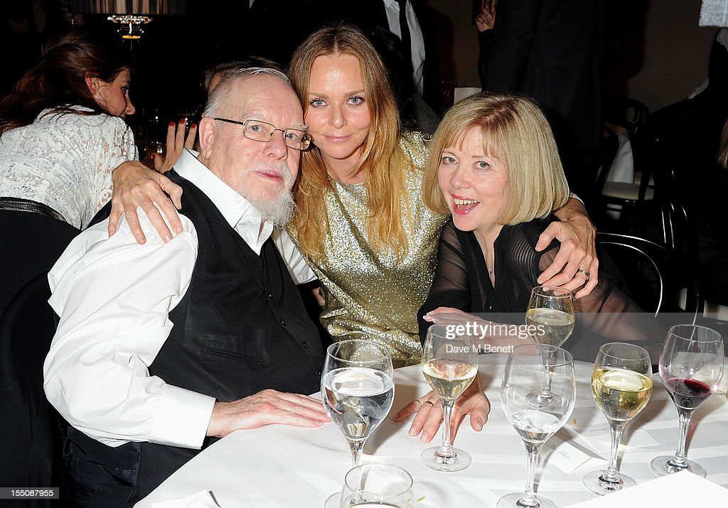 (MANDATORY CREDIT PHOTO BY DAVE M BENETT/GETTY IMAGES REQUIRED) (L to R) Sir Peter Blake, Stella McCartney and Lady Chrissy Blake attend the Harper's Bazaar Women of the Year Awards 2012, in association with Estee Lauder, Harrods and Tiffany & Co., at Claridge's Hotel on October 31, 2012 in London, England.