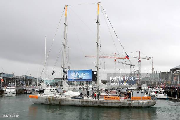 Sir Peter Blake's expedition skooner Tara leaves the Viaduct Basin ahead of Team New Zeland during the Team New Zealand Americas Cup Welcome Home...