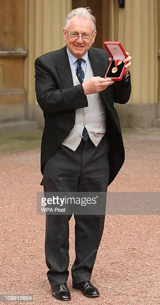 Sir Peter Bottomley with his Knight Bachelor medal presented by Britain's Queen Elizabeth II during an investiture ceremony at Buckingham Palace on...