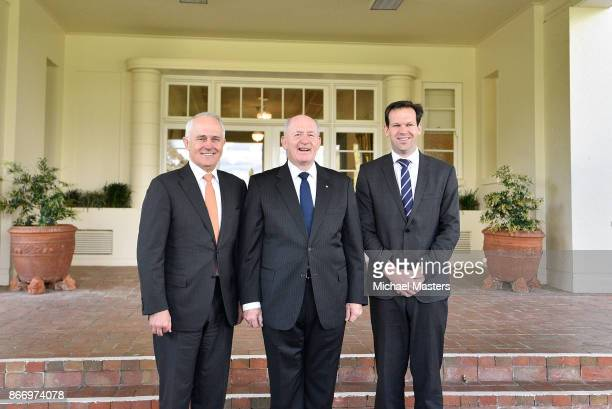Sir Peter Gosgrove GovernorGeneral of Australia Prime Minister Malcolm Turnbull and Sentor Matt Canavan at Government House on October 27 2017 in...