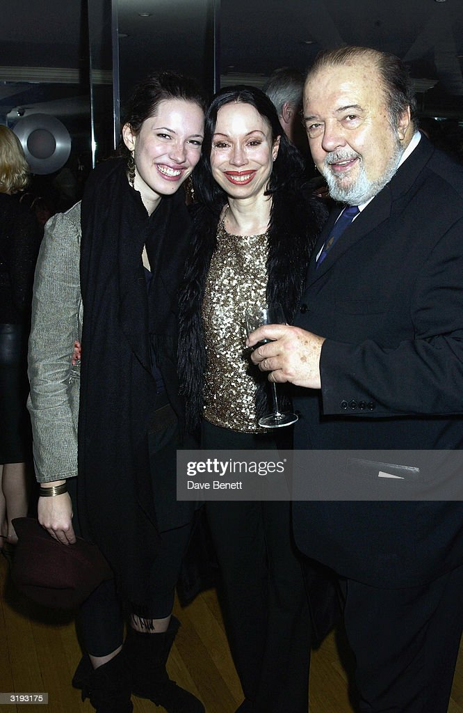 Sir Peter Hall with his ex wife Maria Ewing and their daughter Rebecca Hall attend the first night afterparty for 'Mrs Warrens Profession' on October 10th, 2002 at Dial restaurant, London.