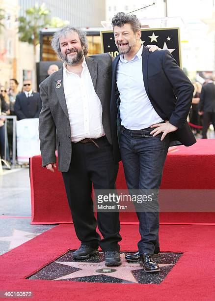 Sir Peter Jackson and Andy Serkis attend the ceremony honoring Sir Peter Jackson with a Star on The Hollywood Walk of Fame on December 8 2014 in...