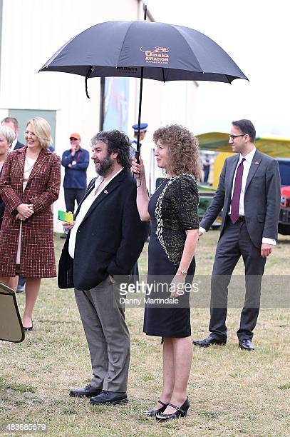 Sir Peter Jackson and Fran Walsh attend the 'Knights of the Sky' exhibition at Omaka Aviation Heritage Centre in Blenheim on April 10 2014 in...