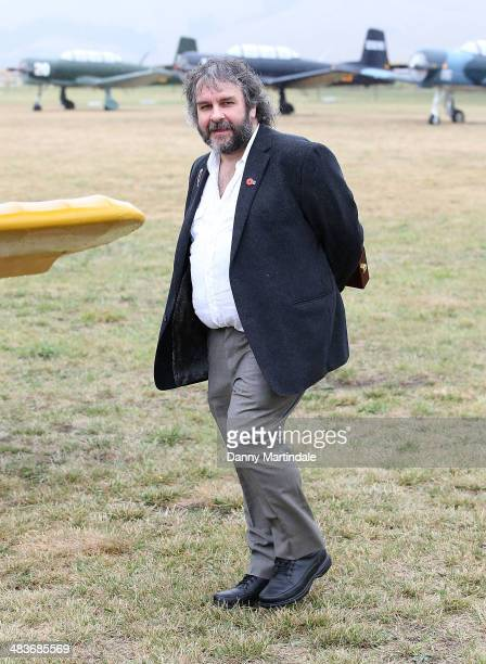 Sir Peter Jackson is seen in front of his plane at the 'Knights of the Sky' exhibition at Omaka Aviation Heritage Centre in Blenheim on April 10 2014...