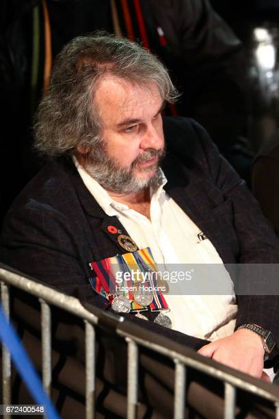 Sir Peter Jackson looks on during Anzac Day dawn service at Pukeahu National War Memorial Park on April 25 2017 in Wellington New Zealand In 1916 the...