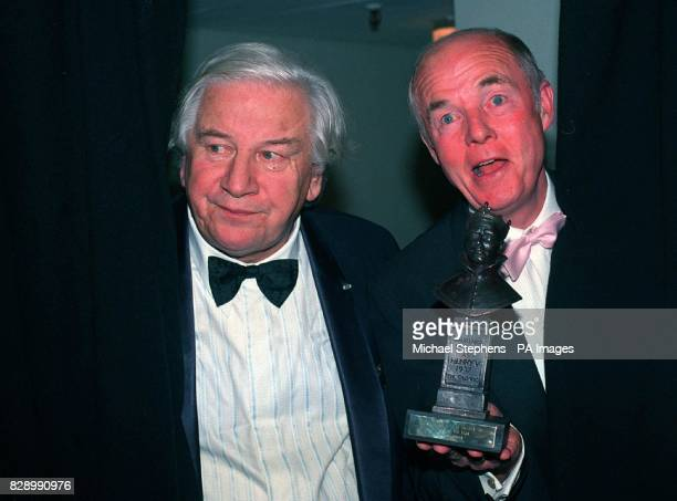 Sir Peter Ustinov with Ray Cooney winner of the Olivier Award for the Comedy of the Year for 'Out of Order' at the Olivier Theatre London