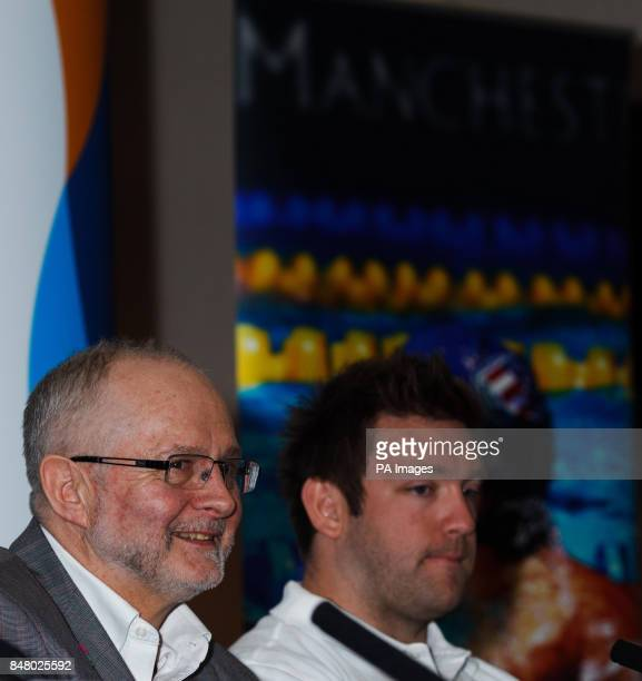 Sir Philip Craven MBE member of the International Paralympic Committee and Dan Greaves during a photocall at the Etihad Stadium Manchester