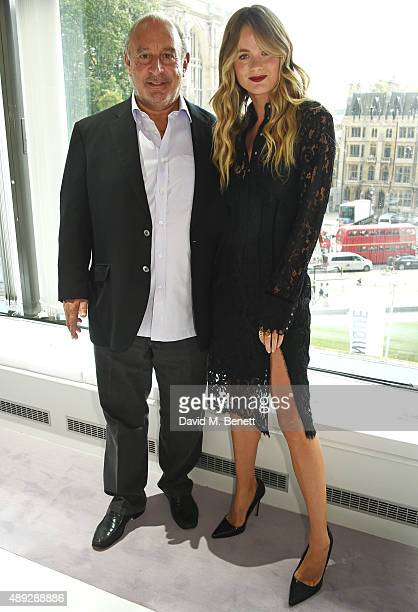 Sir Philip Green and Cressida Bonas attend the Topshop Unique show during London Fashion Week SS16 at The Queen Elizabeth II Conference Centre on...