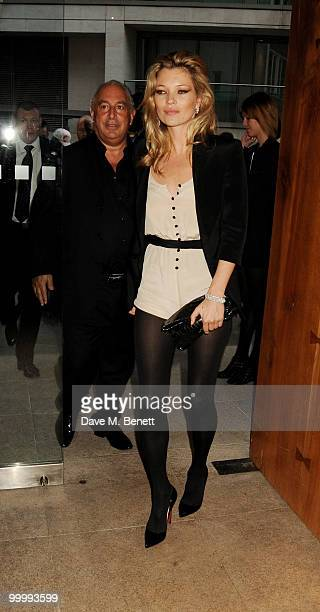 Sir Philip Green and Kate Moss (R) attend the launch party for the opening of TopShop's Knightsbridge store at Zuma on May 19, 2010 in London, England.