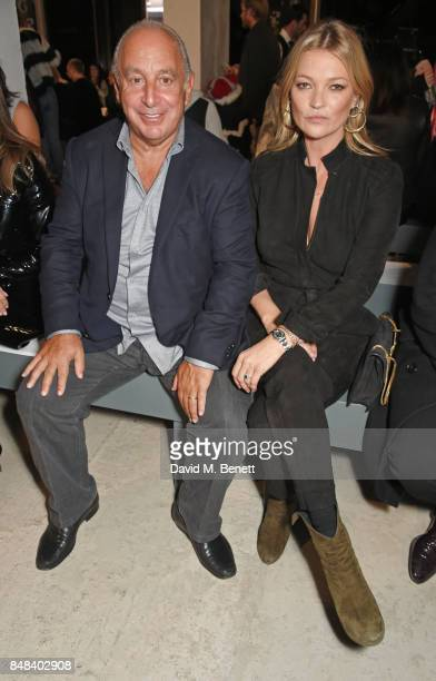 Sir Philip Green and Kate Moss attend Topshop's London Fashion Week show on September 17 2017 in London England